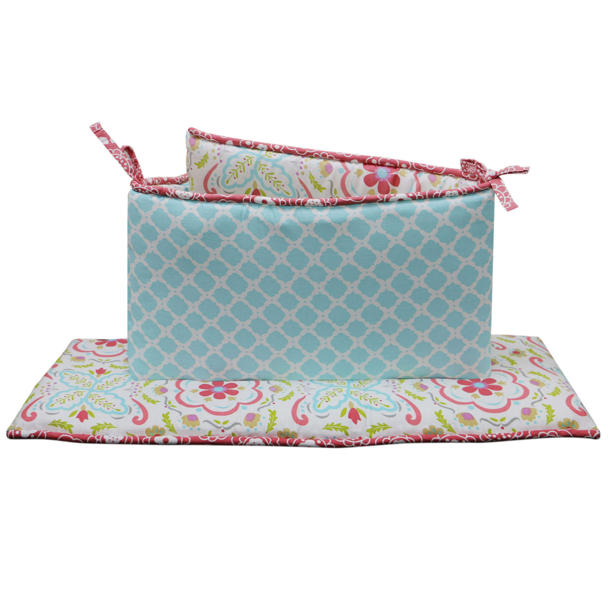 The Peanut Shell Baby Girl Crib Bumper - Coral and Aqua - Mila Bumper