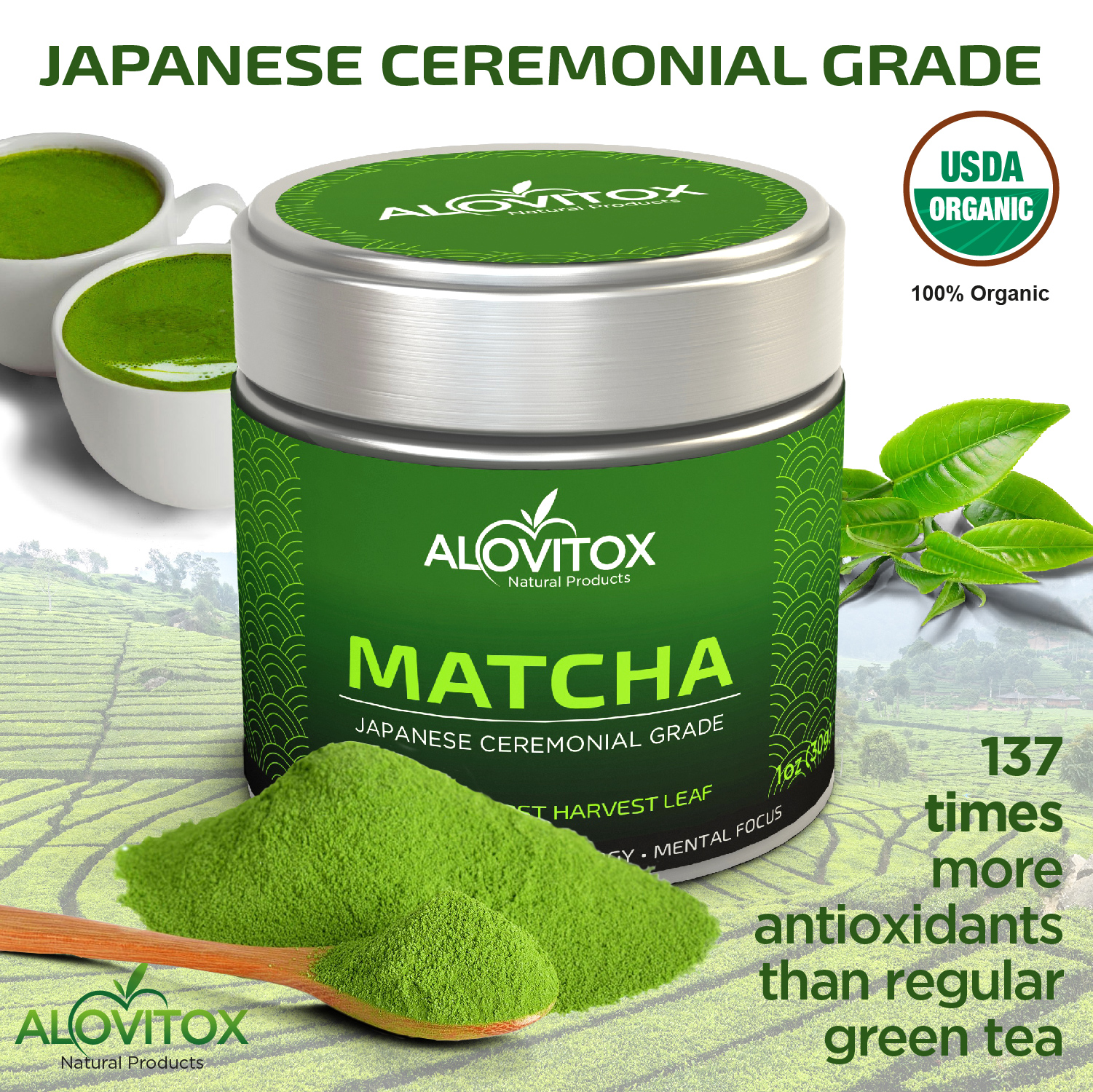 Alovitox Matcha Green Tea Powder, Premium Japanese First Harvest Ceremonial Grade, 100% Organic, use for Back to School Focus, and in Smoothies, Lattes, & Recipes for Energy, 1oz Can