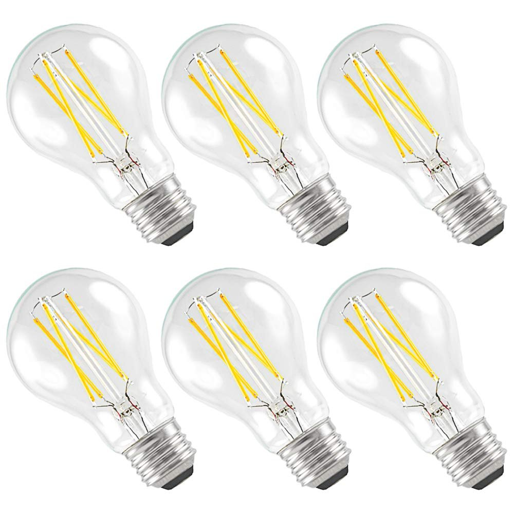 6-Pack Luxrite LED Filament Bulb A19, 7W Bulb to Replace 60W Incandesent Bulb, Warm White 2700K, 800 Lumens, Damp Rated, Dimmable, E26 LED Bulb, Great for Any Indoor/Outdoor Use, UL Listed