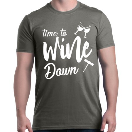Shop4Ever Men's Time To Wine Down Graphic T-shirt - Kelly In Spandex