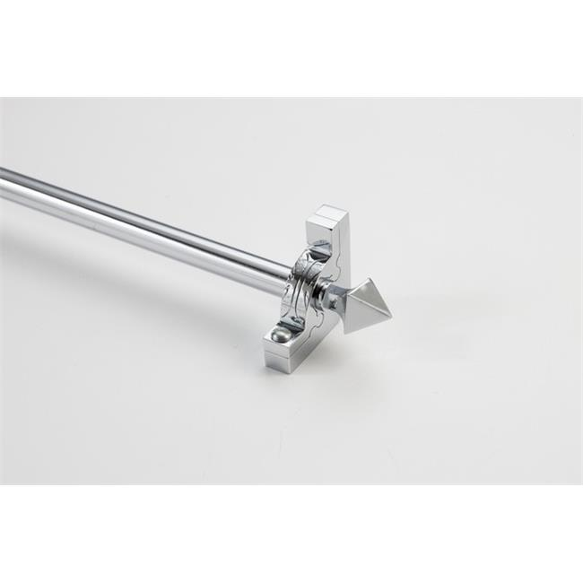 Zoroufy 01368-03323 36 in. Sovereign Tubular Stair Rod Set with Decorative Brackets Pyramid Finials in Chrome by Zoroufy