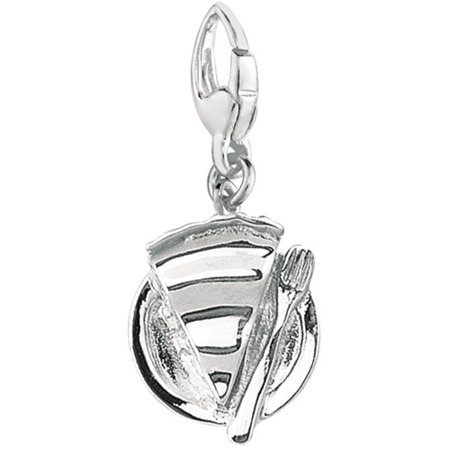 Women's Sterling Silver Slice of Pie on a Plate Clip-On Charm