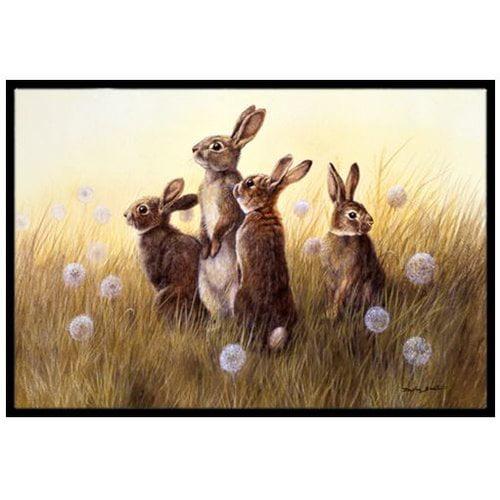 Rabbits in the Dandelions Doormat by Caroline's Treasures