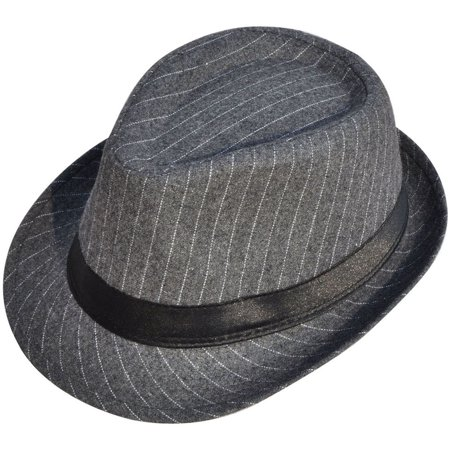 Men's Vintage Sixties Style Trilby Gangster Wool Fedora Hats, (Grey Fedora Hat)