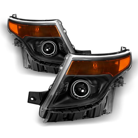 Halogen Models For 2011-2015 Ford Explorer Projector Black Headlights LH+RH Pair
