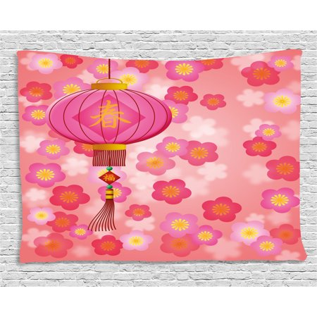 Lantern Tapestry, Chinese New Year Theme Cherry Blossom Auspicious Festive Celebration Print, Wall Hanging for Bedroom Living Room Dorm Decor, 80W X 60L Inches, Pale Pink Yellow, by Ambesonne - Chinese New Year Decor Ideas