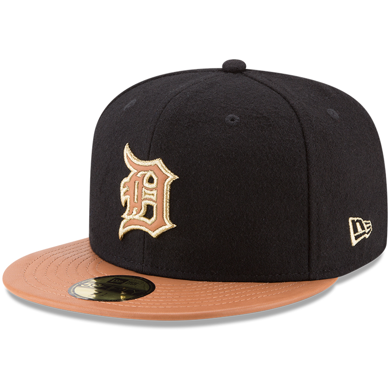 Detroit Tigers New Era Wilson Collaboration 59FIFTY Fitted Hat - Black/Natural