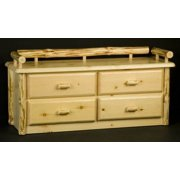 Wilderness 4 Drawer Deacon Bench in Clear Lacquer Finish