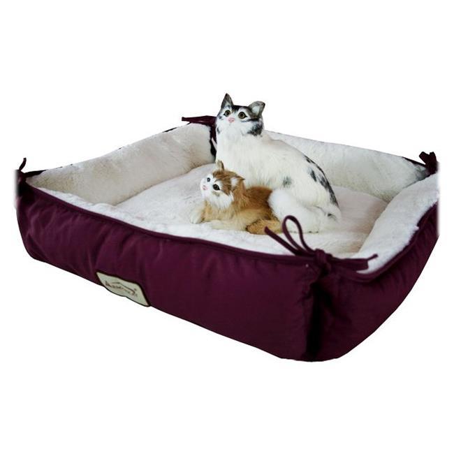 C06HJH-MB Armarkat Pet Bed Cat Bed 16 x 16 x 6 - Burgundy & Ivory