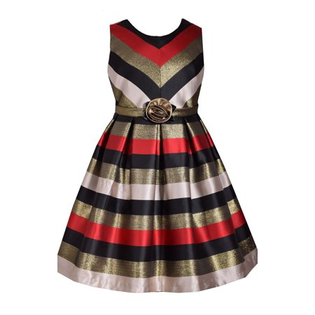 Bonnie Jean Big Girls 7-16 Sleeveless Stripe Red Metallic Holiday Party Dress
