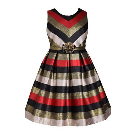Bonnie Jean Big Girls 7-16 Sleeveless Stripe Red Metallic Holiday Party Dress](Big Girl Party Dresses)