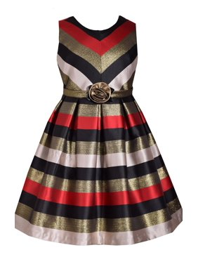 5f6dc0f7738e32 Product Image Bonnie Jean Big Girls 7-16 Sleeveless Stripe Red Metallic  Holiday Party Dress