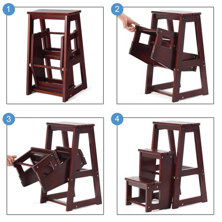 Costway Wood Step Stool Folding 3 Tier Ladder Chair Bench Seat Utility - image 1 of 10