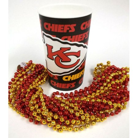 Kansas City Chiefs 22 oz Cup 12 Mardi Gras Beads Red Gold Party Favors