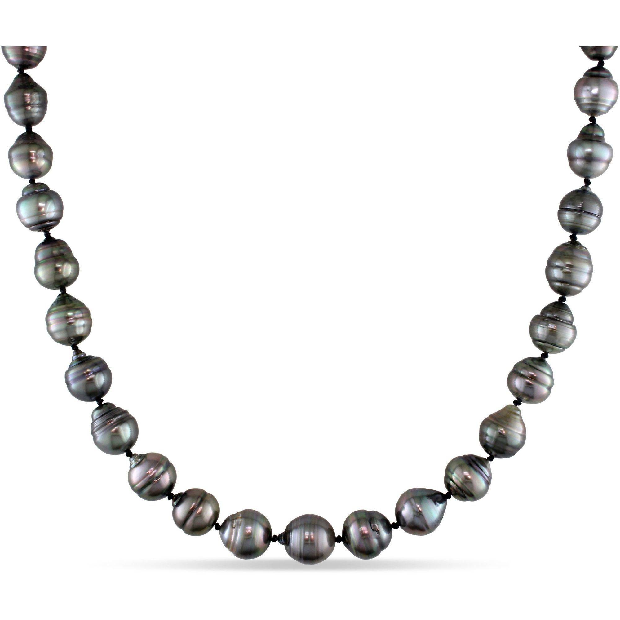 """8-11mm Black Tahitian Pearl 14kt White Gold Strand Necklace, 17"""" by Generic"""