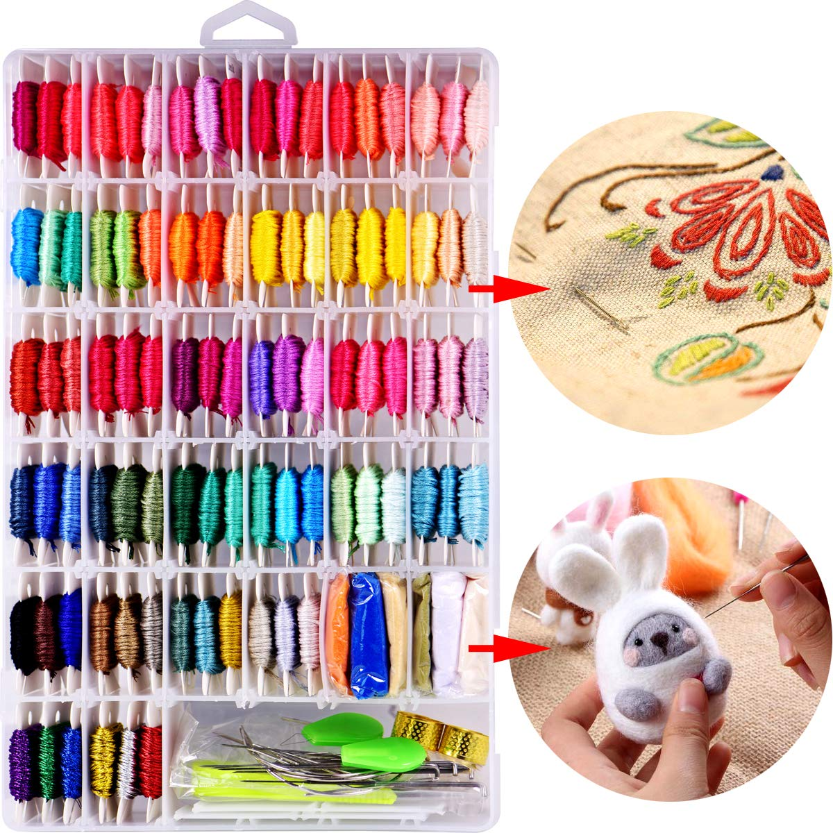 160 Pcs Paper Floss Bobbins for Embroidery Floss Organizer, Cross-Stitch Bobbins Card Thread Holder,Wrap and Store Floss,Craft DIY Sewing Storage,with Free Set of 6 Needles and 1 Threader(White