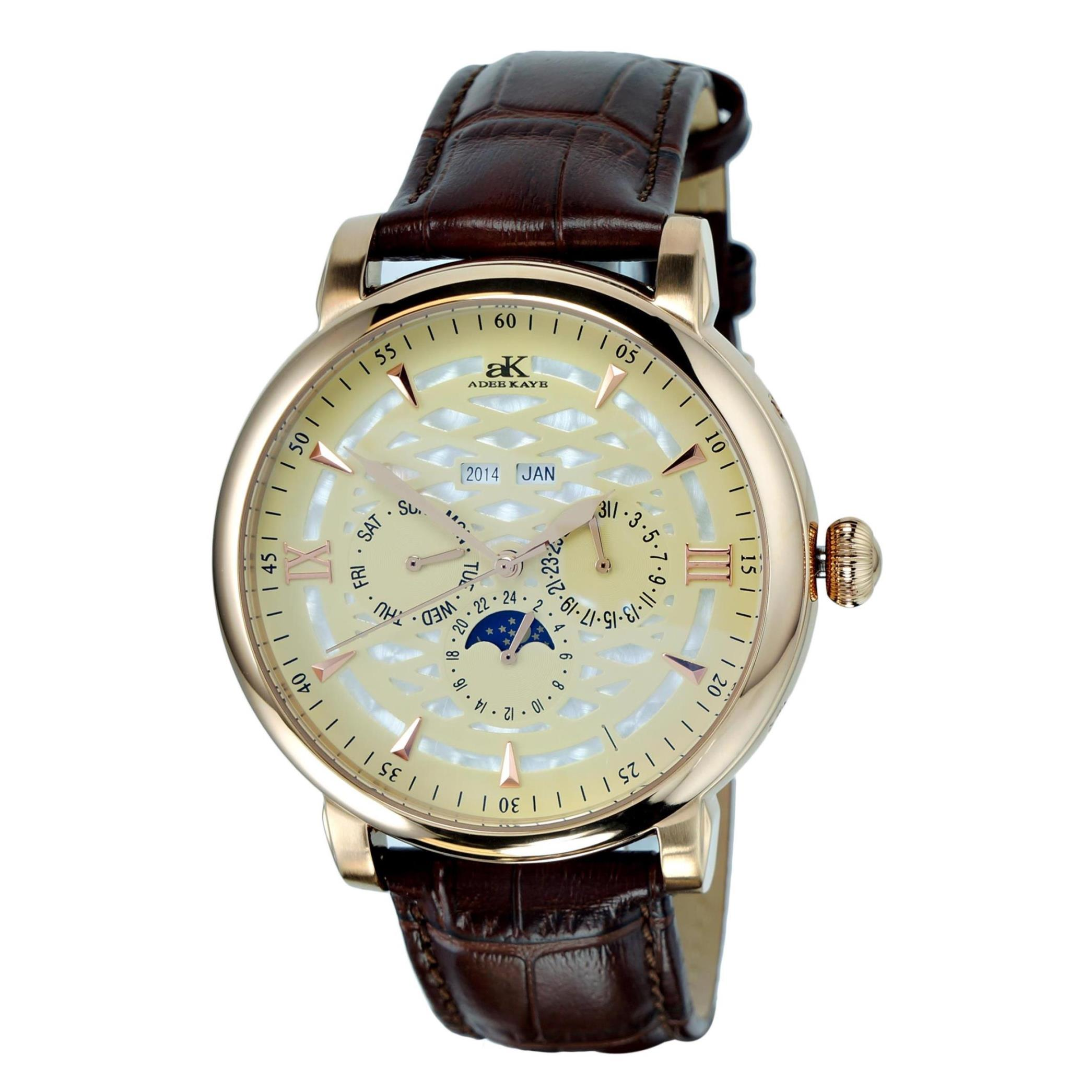 Adee Kaye Men's Multi Function 46.42mm Brown Leather Band...