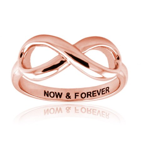 Rose Gold Plated Sterling Silver Now & Forever Classic Iconic Infinity Symbol Promise Ring