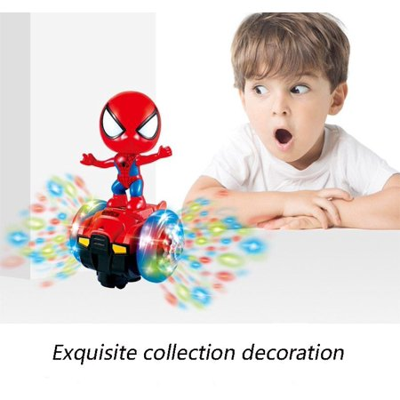 Spiderman Cartoon Electric Universal Car Robot Toy Led Light Colorful 360 Degree Chirstmas Toy Gift For Kids Boys Girls Toddlers