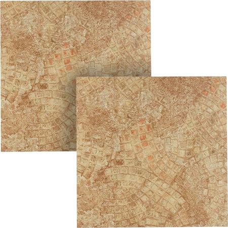 Mosaic Floor Tile - NEXUS Ancient Beige Mosaic 12x12 Self Adhesive Vinyl Floor Tile - 20 Tiles/20 Sq.Ft., 2 pack