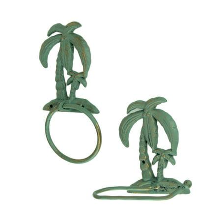 Verdigris Patina Cast Iron Palm Tree Towel Ring and Holder Set - image 2 of 3