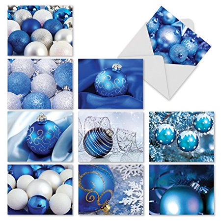'M3960 A BLUE CHRISTMAS' 10 Assorted All Occasions Cards Featuring Photographs Of Pretty Blue-Colored Ornaments with Envelopes by The Best Card