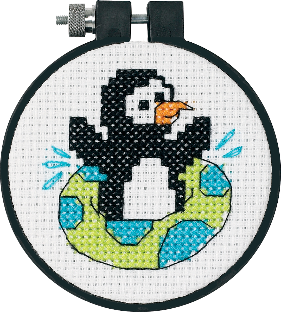 "Dimensions Learn-a-Craft Playful Penguin Counted Cross Stitch Kit, 3"" round"