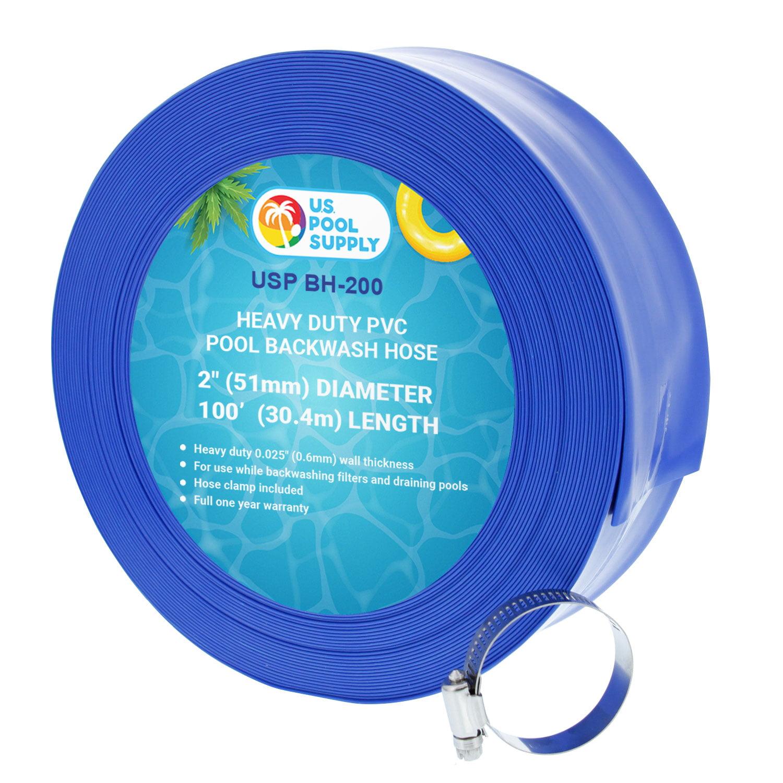 U S Pool Supply 2 X 100 39 Heavy Duty Blue Pvc Swimming Pool Backwash Hose With Hose Clamp