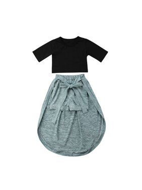 Fashion Princess Kids Baby Girl Exposed Navel Tops T-shirt Shorts Skirt Clothes Outfits