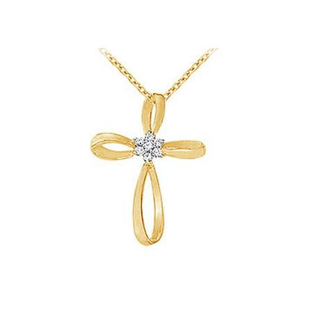 April Birthstone Cubic Zirconia Cross Pendant in 18K Yellow Gold Vermeil over 925 Silver - image 1 de 2
