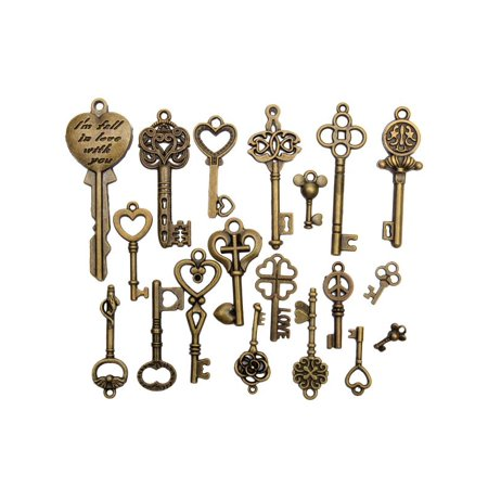 19Pcs Antique Vintage Old Look Skeleton Bronze Key Pendant Heart Bow Lock Steampunk - Loose Key
