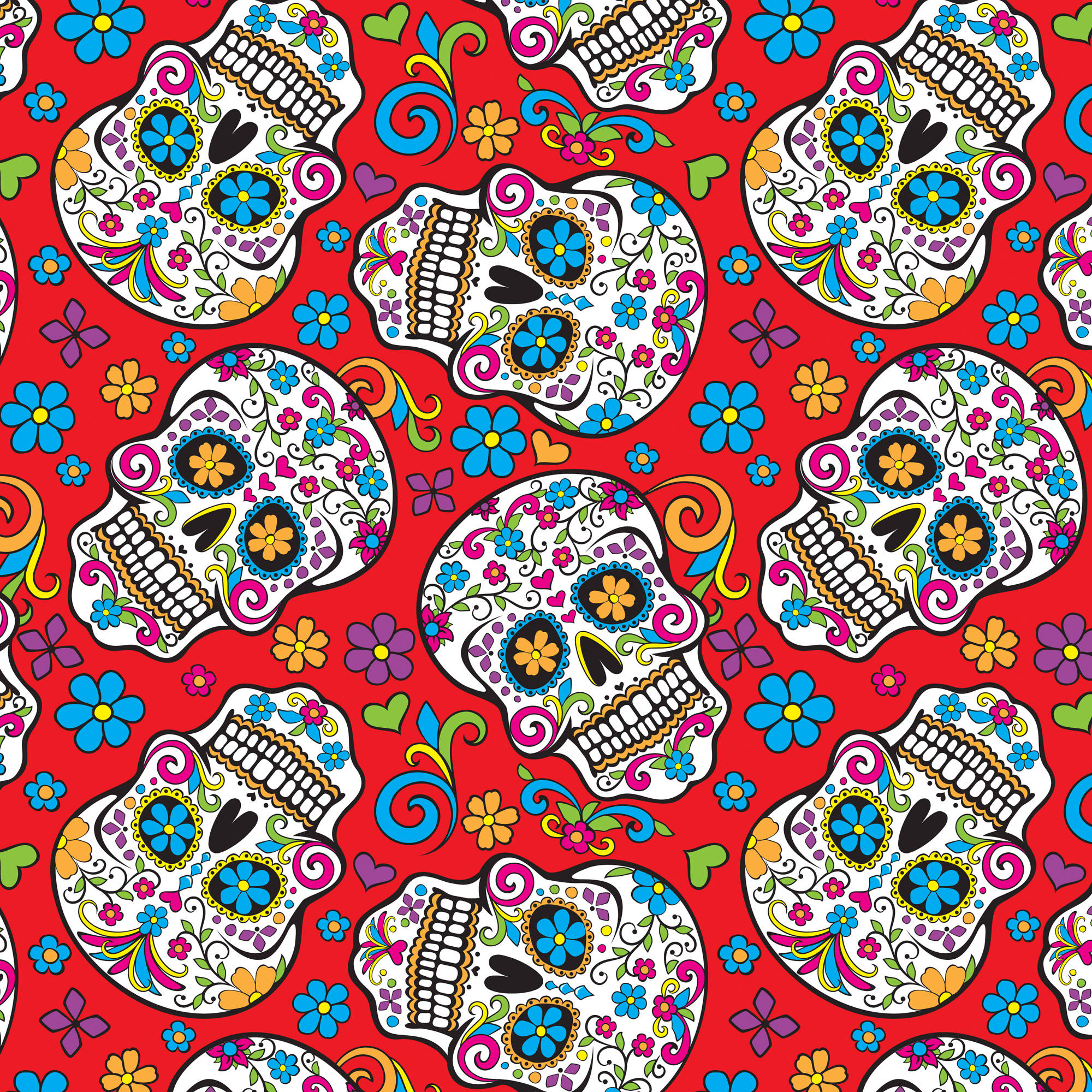 """David Textiles, Inc. Folkloric Skull Red Quilting Cotton Fabric By The Yard, 44"""""""