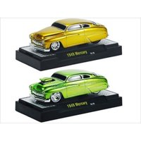 Ground Pounders 1949 Mercury Green & Gold 2 Cars Set IN CASES 1/64 Diecast Model Cars by M2 Machines