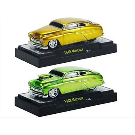 - Ground Pounders 1949 Mercury Green & Gold 2 Cars Set IN CASES 1/64 Diecast Model Cars by M2 Machines
