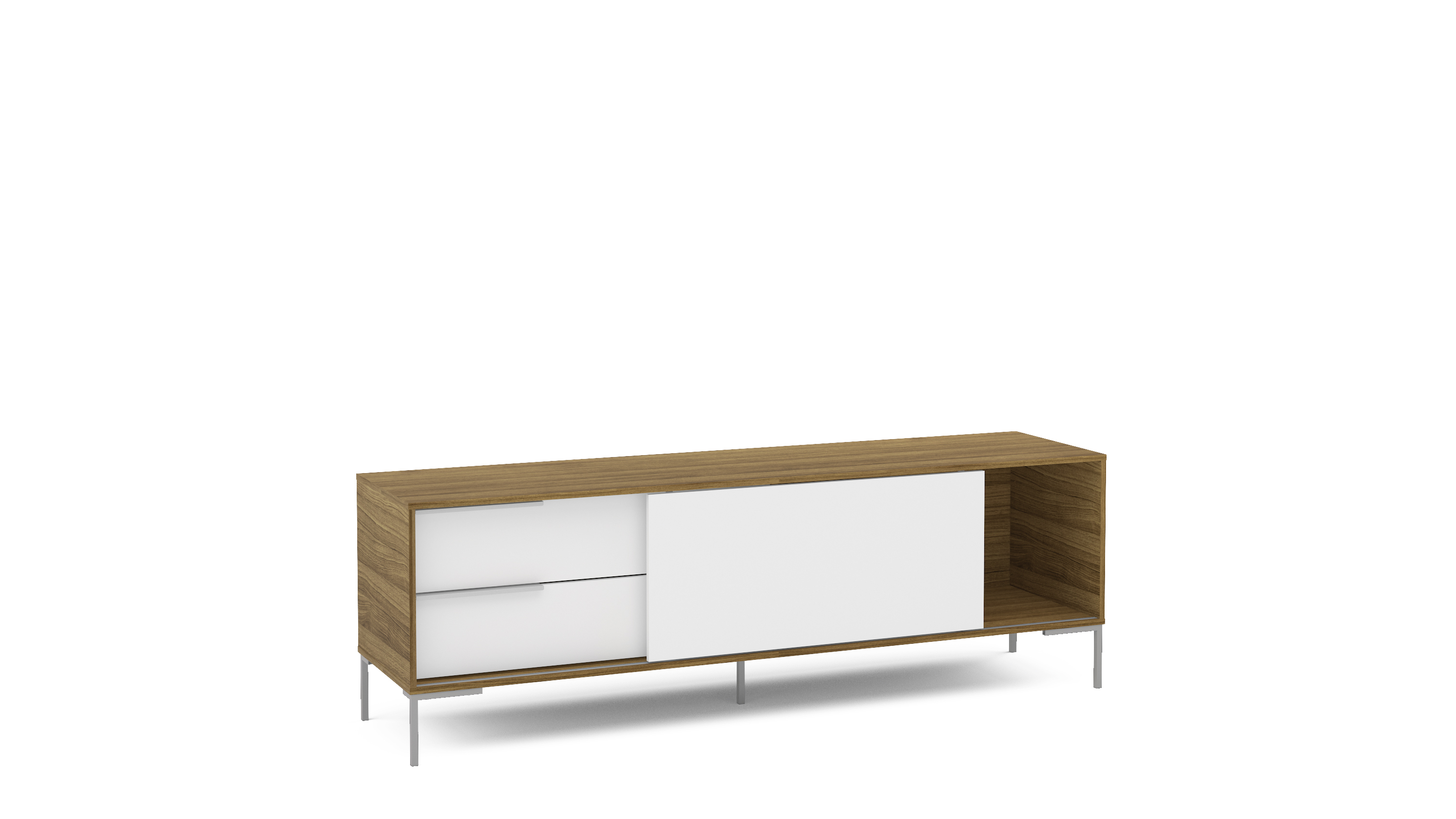 Polifurniture Denver 70 Inch Modern TV Stand, White And Walnut