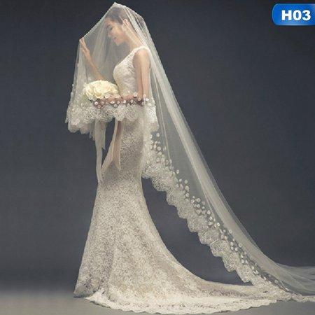 AkoaDa 1.5\/2\/3M Fashion Western Wedding Bridal White Veil Transparent Bridal Wedding Veil Decor For Wedding Hairstyle Wedding Dress (African American Wedding Hairstyles With Birdcage Veil)
