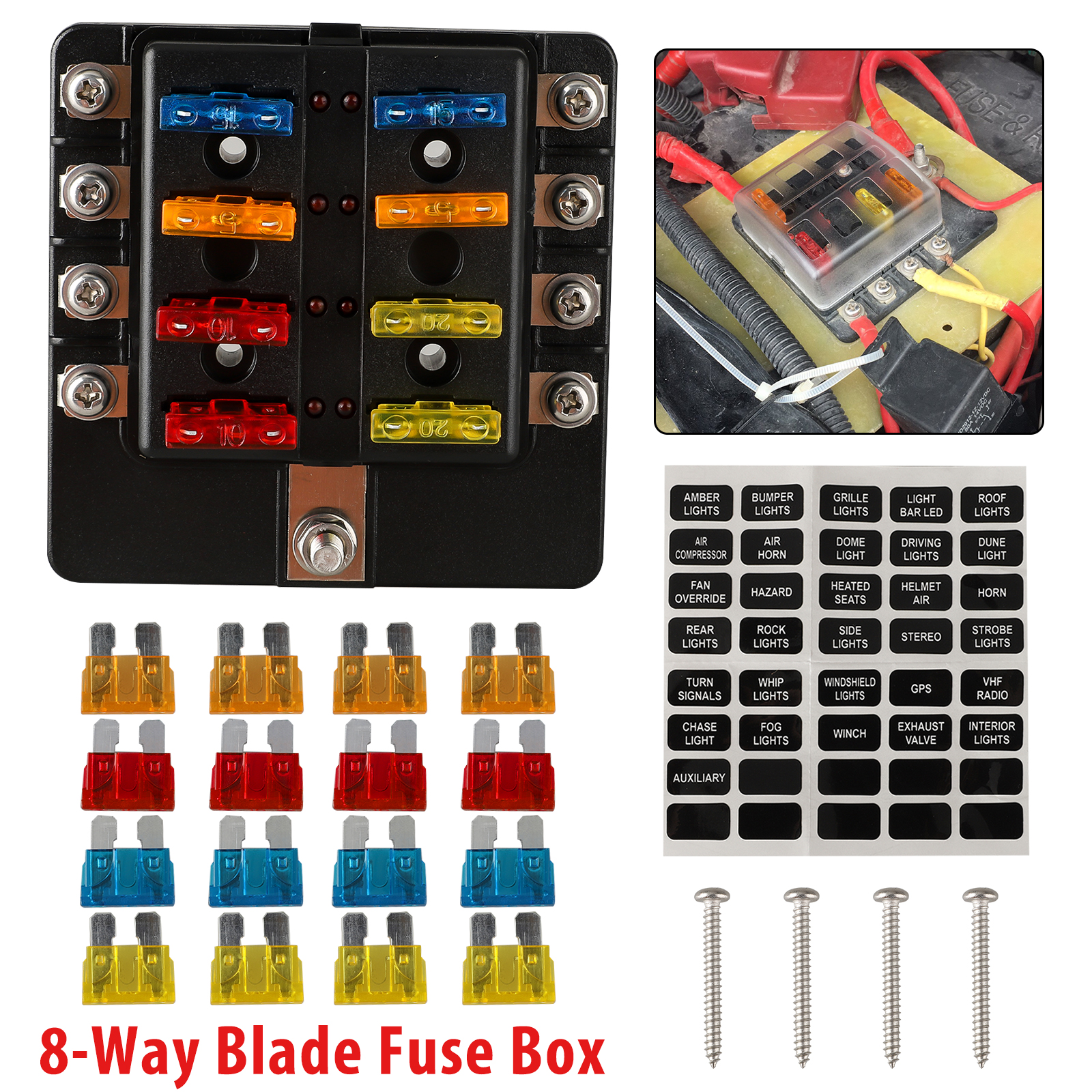 [SCHEMATICS_49CH]  TSV 8-Ways Blade Fuse Box Holder for Cars Buses Subways Airplanes Boats  Ships Campers, ATO / ATC Fuse Box, 32V DC Auto Marine Fuse Block with Clear  Protective Cover, Comes with 5A | Dc Fuse Box For Camper |  | Walmart
