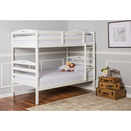 - Dream On Me Nova 2-in-1 Convertible Twin Over Twin Wood Bunk Bed, White, Box 1 of 3