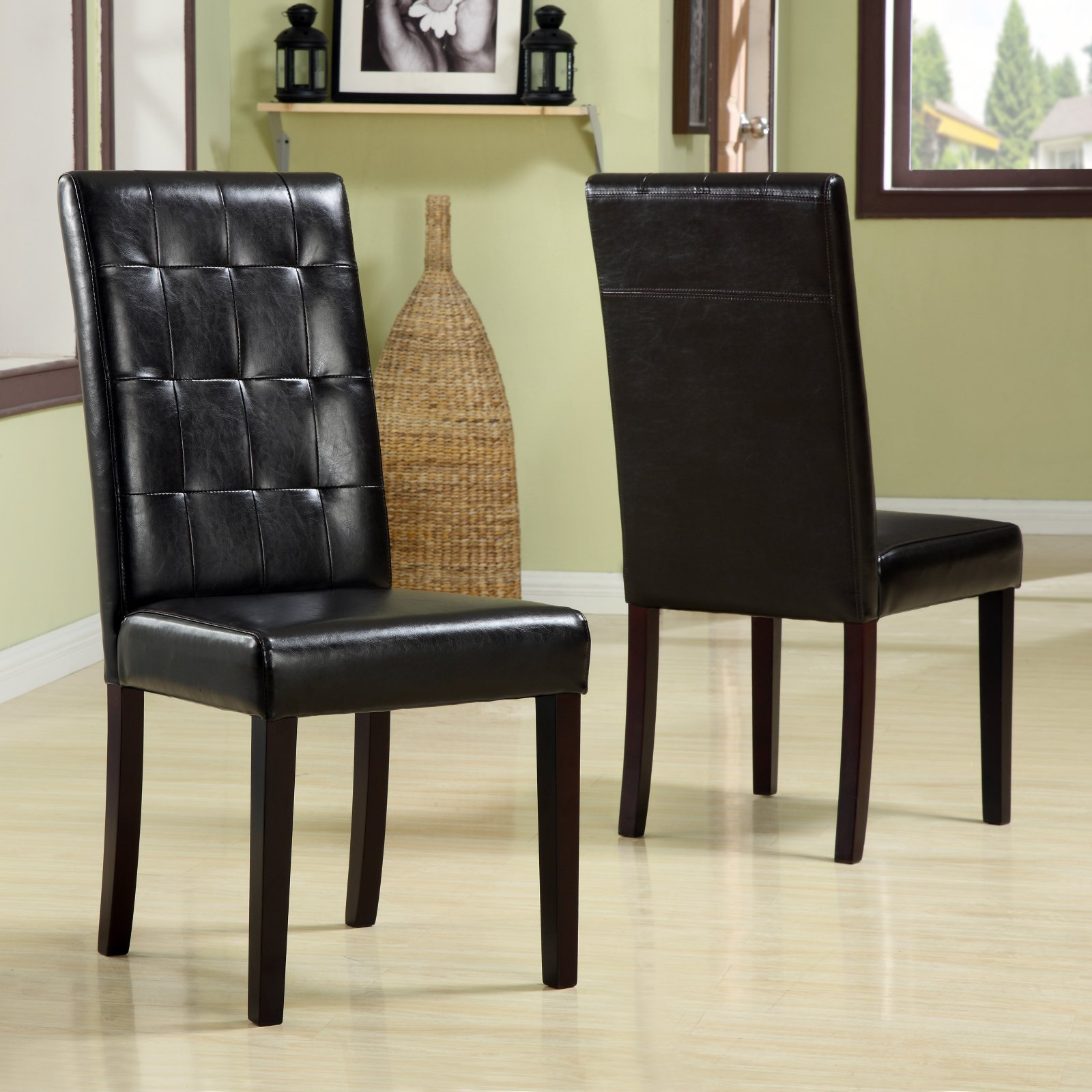 Urban Seating Tufted Chocolate Leatherette Parsons Chairs - Set of 2