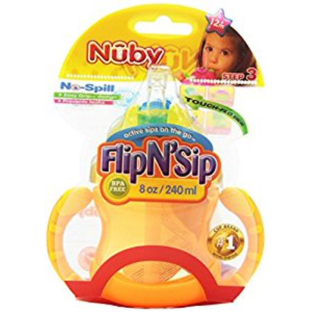 Sip Straw - Nuby 2 Handle Flip n' Sip Straw Cup, 8 Ounce, 12 Months Plus, Colors May Vary