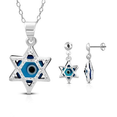 925 Sterling Silver Jewish Star of David Evil Eye Good Luck Earrings Pendant Necklace Set, 18
