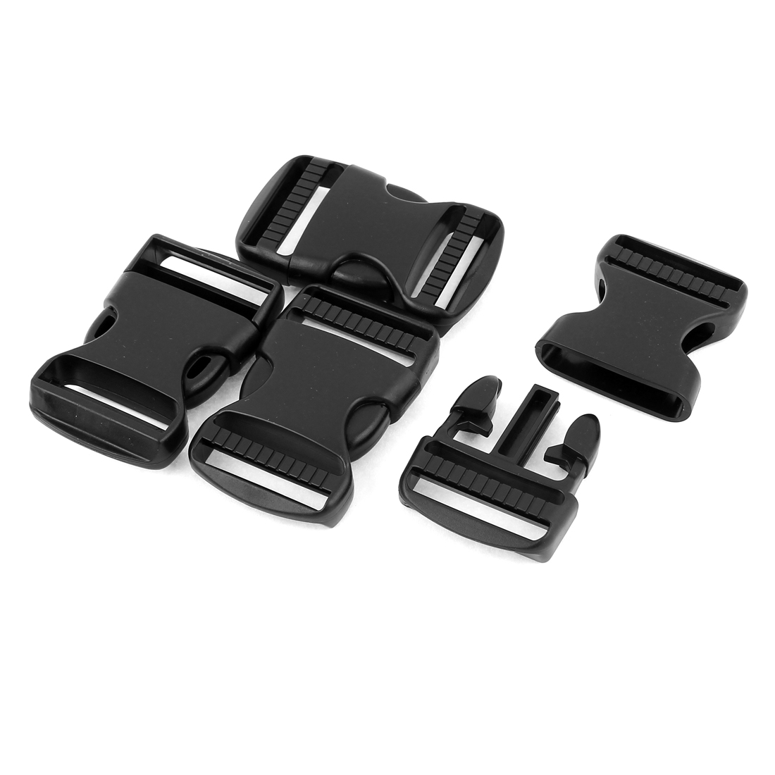4 Pcs 37mm Width Black Plastic Backpack Rucksack Quick Release Buckle Clip