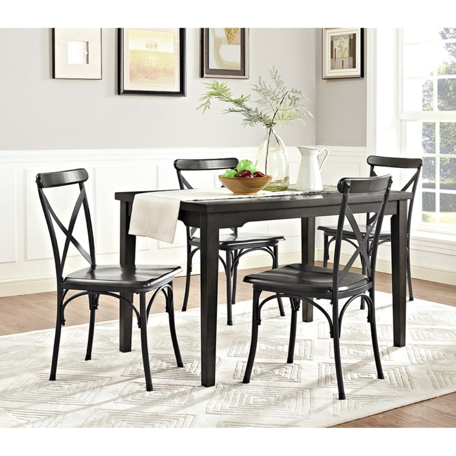 dorel living parker wood and metal dining set