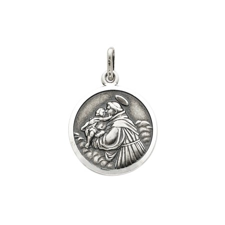 925 Sterling Silver St  Anthony Medal Charm Pendant   27Mm