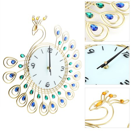 Greensen Horloge murale en forme de paon de style européen Creative Iron, pendule murale à diamant, horloge murale de style européen, horloge murale - image 3 de 8