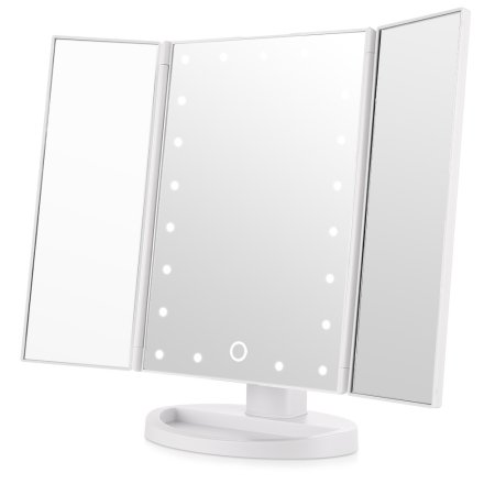 21Pcs Led Light Vanity Mirror Makeup Tri-Fold 180 Degree Free Rotation Table Countertop... by HURRISE SPORT