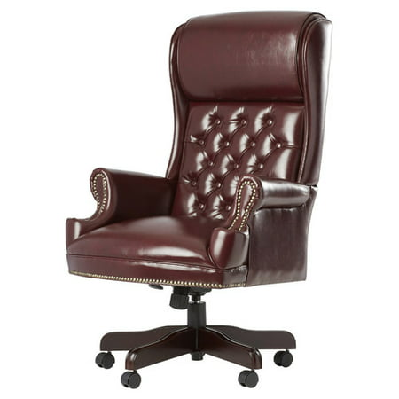 Deluxe High Back Traditional Executive Leather Office Chair with Arms, Mahogany Finish