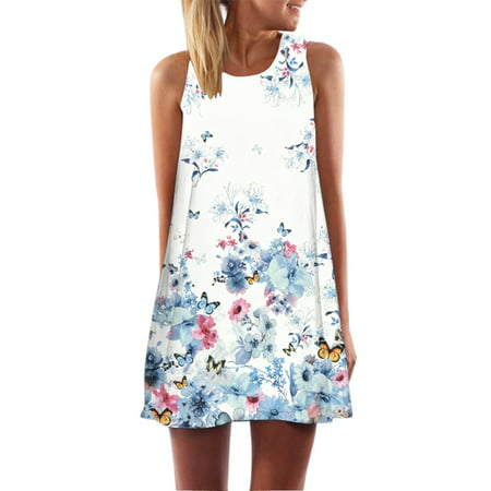 JOYFEEL Clearance Women Summer Sundress Women Blue Flowers Butterfly Printed Mini Dress Sleeveless Dresses Loose Casual Beach Dress for Women