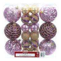 Holiday Time Shatterproof Ornaments, 30-Count, Purple Gold