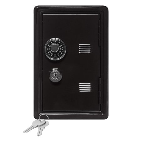 Kids Coin Bank Locker Safe With Combination Lock And Key   7  High Black